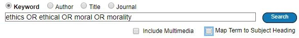 Search box containing the search strategy: ethics or ethical or moral or morality.