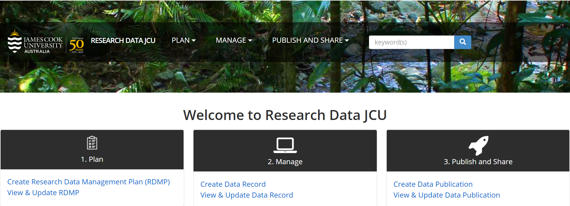 Research Data JCU Banner (logged in)