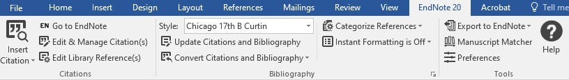 Cite While You Write toolbar in Microsoft Word
