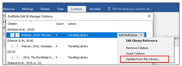 Edit citations function in Word with Edit Reference drop down menu displayed with Update from My Library highlighted