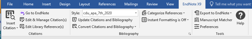 EndNote toolbar in Word