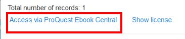 "Link named ""Access via Proquest Ebook Central"" outlined in red"