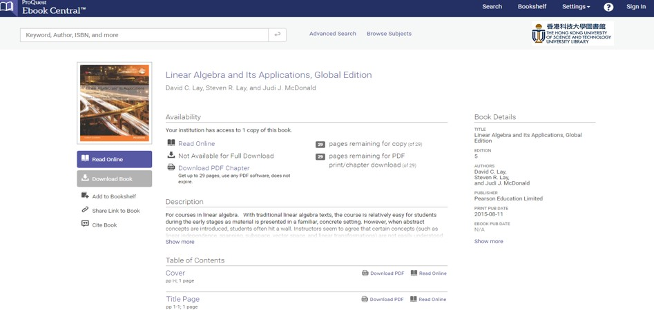 "image of Proquest E-book central's landing page for David Lay's book ""Linear algebra and its applications'"
