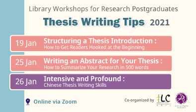 Library Workshops for Research Postgraduates: Thesis Writing Tips (Jan 2021)
