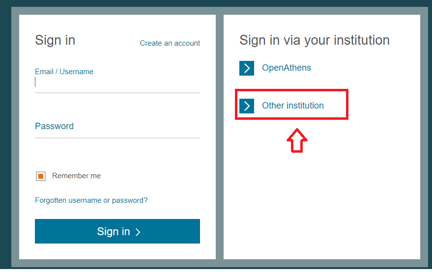 ScienceDirect Sign In via Your Institution screen, click Other Institutions