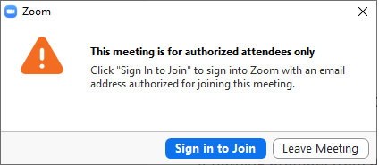 This meeting is for authorized attendees only