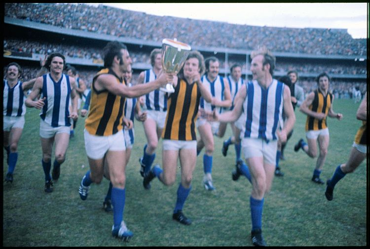 North Melbourne players with 1975 premiership cup