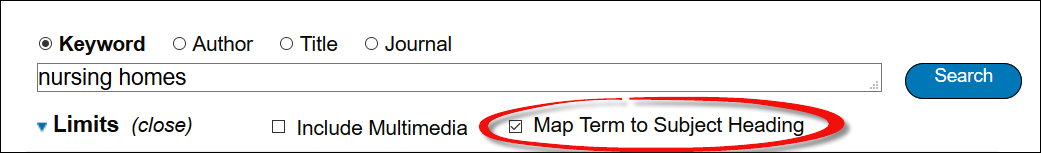 screenshot of nursing homes in the Medline search box and the Map Term to Subject Heading option selected