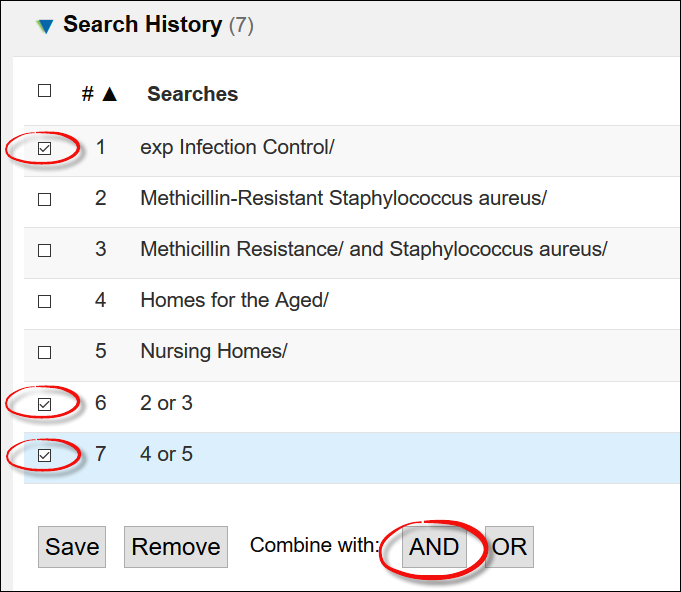 screenshot of the Search History with showing how to combine concepts with AND