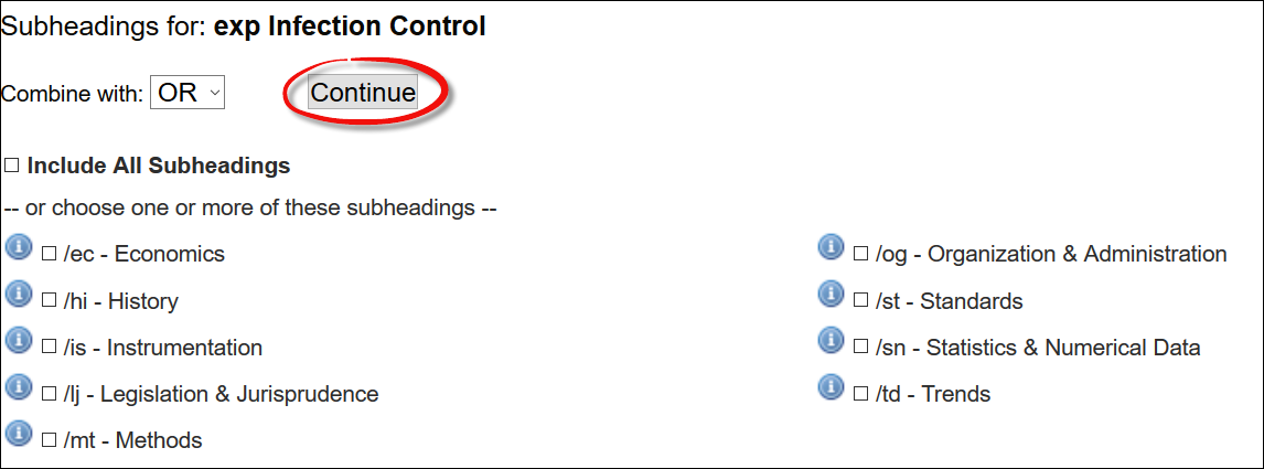 screenshot of the subheadings for infection control with the Continue button highlighted