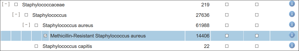 screenshot of Methicillin-Resistant Staphylococcus aureus in the tree