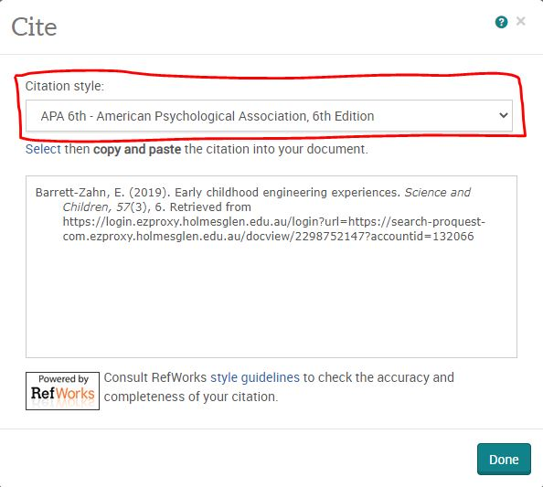 Image of citation pop up window in ProQuest database