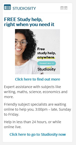Studiosity block on the LMS - Free Study help, right when you need it