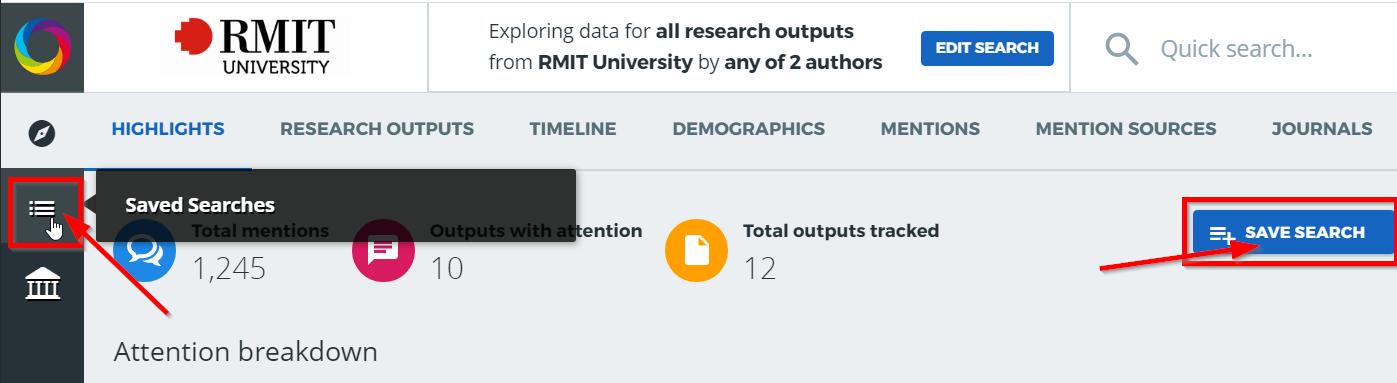 Altmetric Explorer saved search screenshot