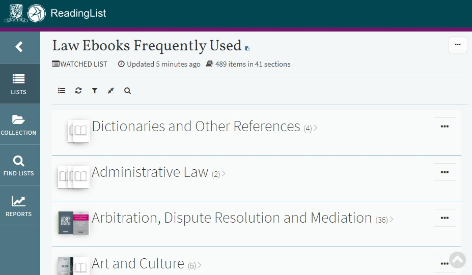 Law ebooks frequently used