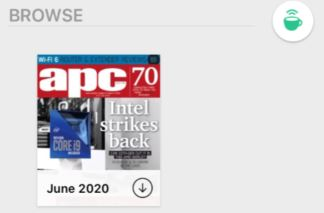 Browse | green coffee cup | cover of the apc magazine with download icon underneath - down arrow circled