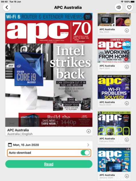 APC Australia | Recent cover | Mon, 15 June 2020 | Auto-download option toggled on | Read button | 5 back issue covers vertically on the right