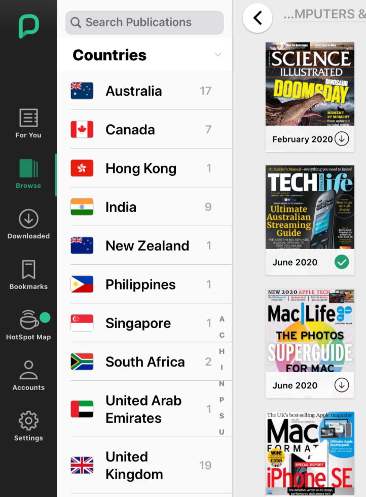 Black sidebar: For you | Browse | Downloaded | Bookmarks | Hotspot map | Account | Settings - Next to Countries - alphabetical list below Search Publications | grid of magazine covers