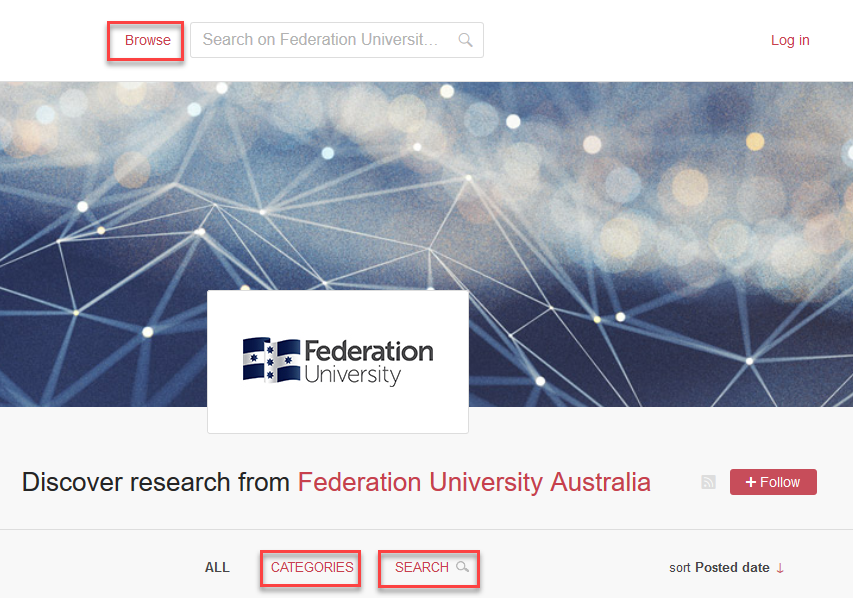 screenshot of Federation.figshare search options