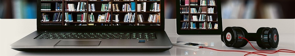 decorative header image, showing book-filled Library shelves on laptop computer screen
