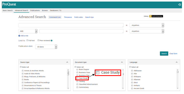 The ProQuest database allows you to restrict your search so that only case studies are searched. Restrict your search to 'case study' in the document type options