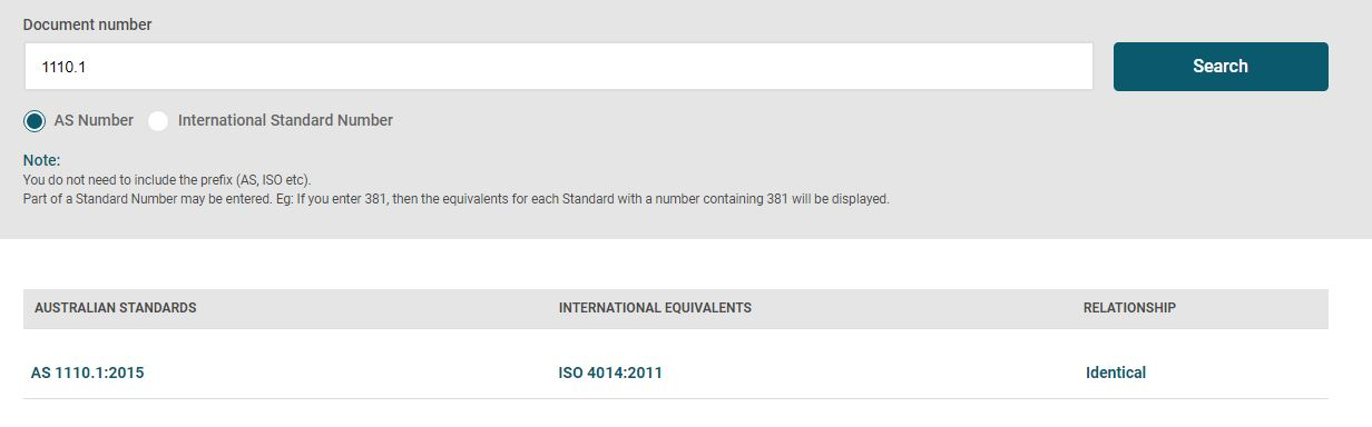 Screenshot of SAI Global to search for equivalent international standards