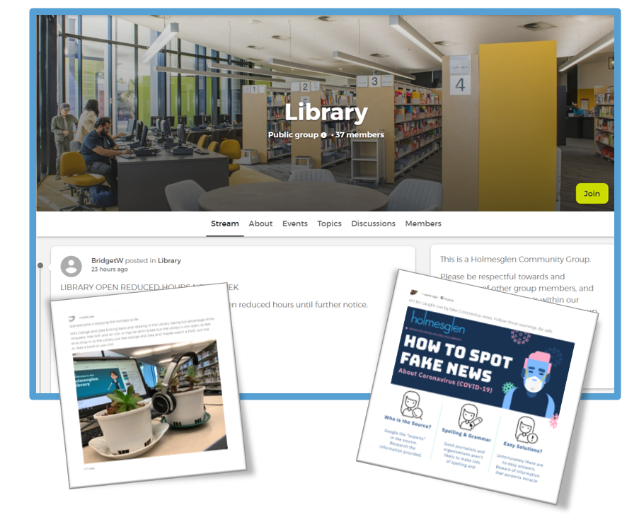 screen capture of the Library Online Community homepage