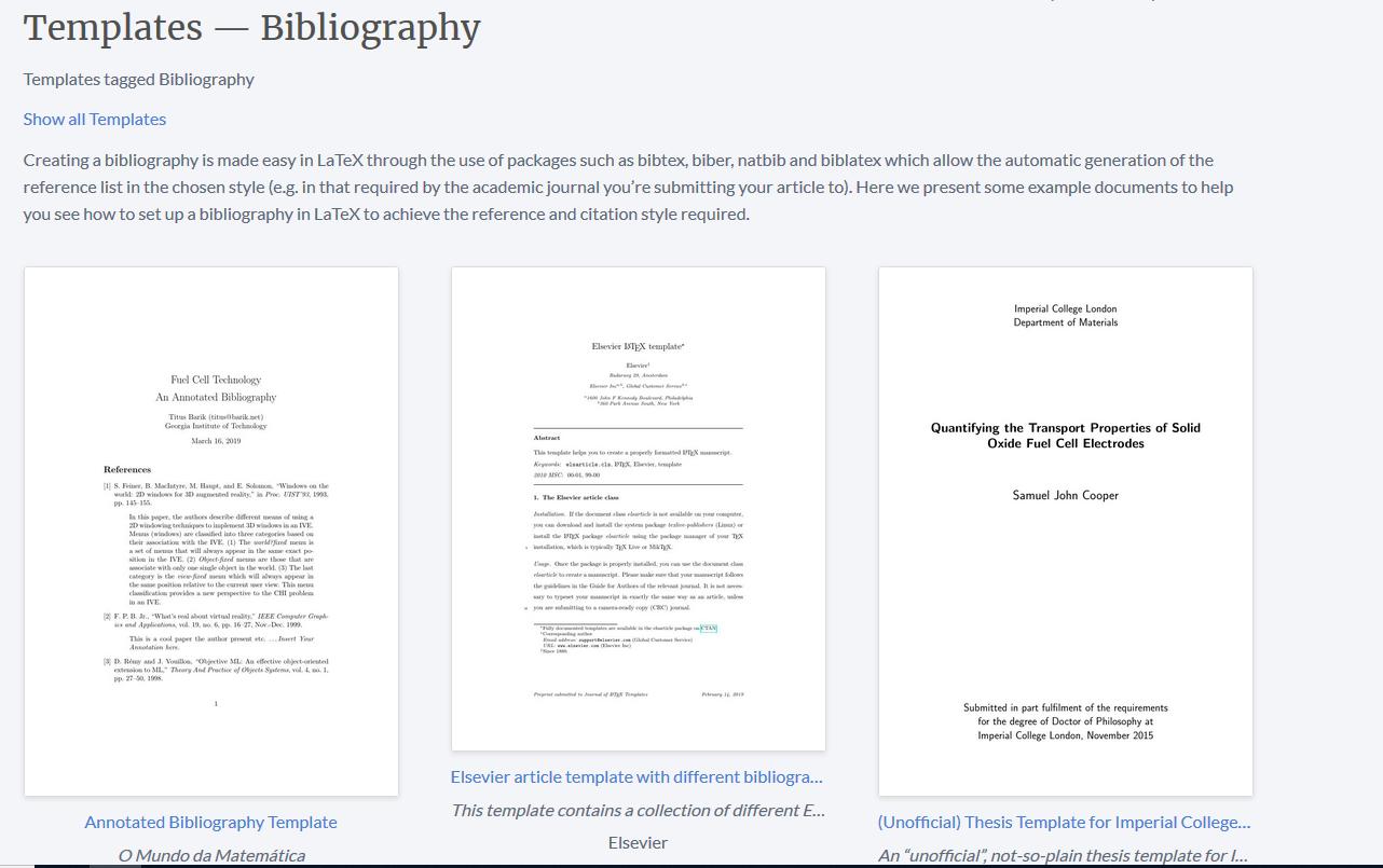 Overleaf v2 bibliography template - LaTeX and BibTeX