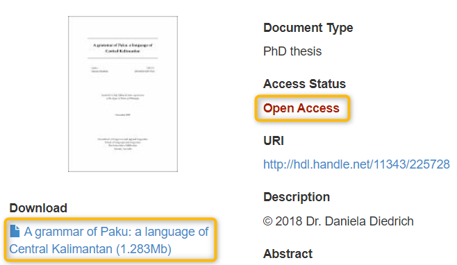 screenshot of open access thesis with access status and download link highlighted