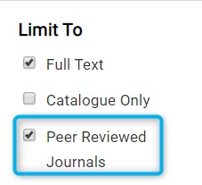 Checkboxes in Discovery's left-hand menu showing the peer reviewed journals option highlighted