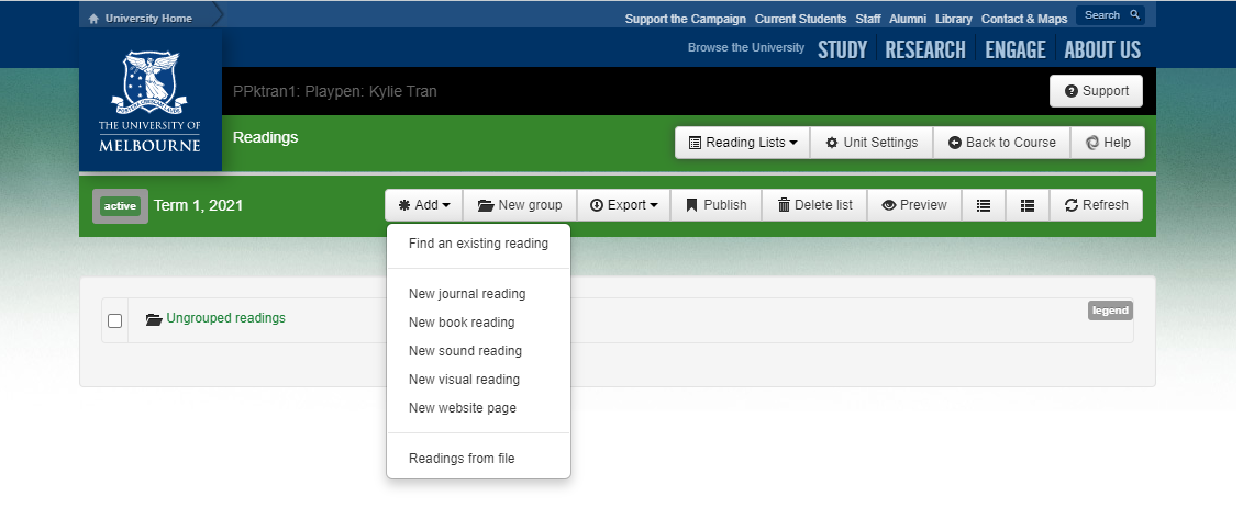 You're now ready to start adding readings to your list
