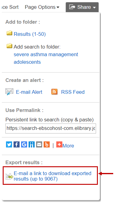 The image shows a screen grab of the share options in CINAHL. The link to email or export the results is at the bottom.