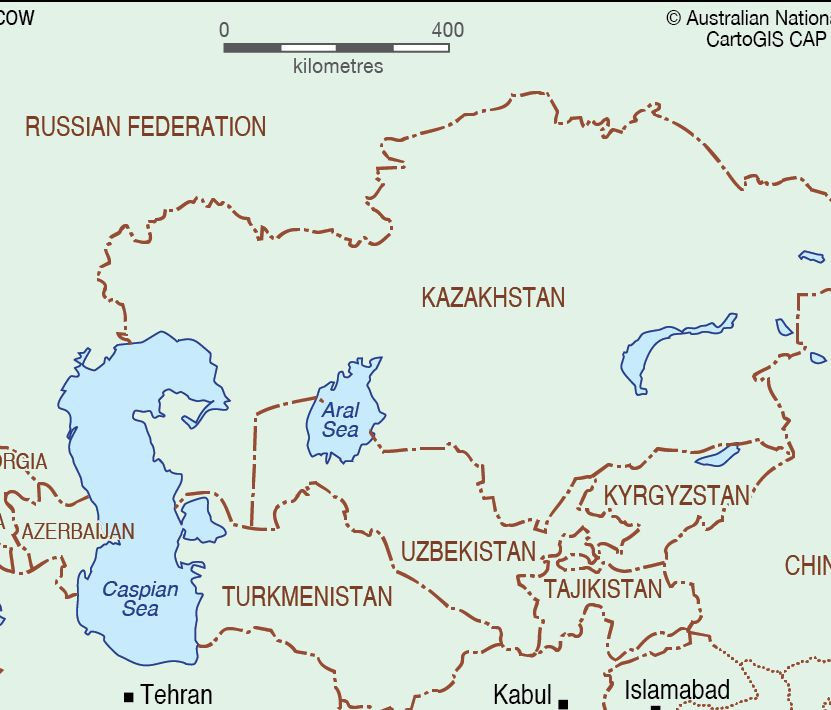 Map of Central Asia states