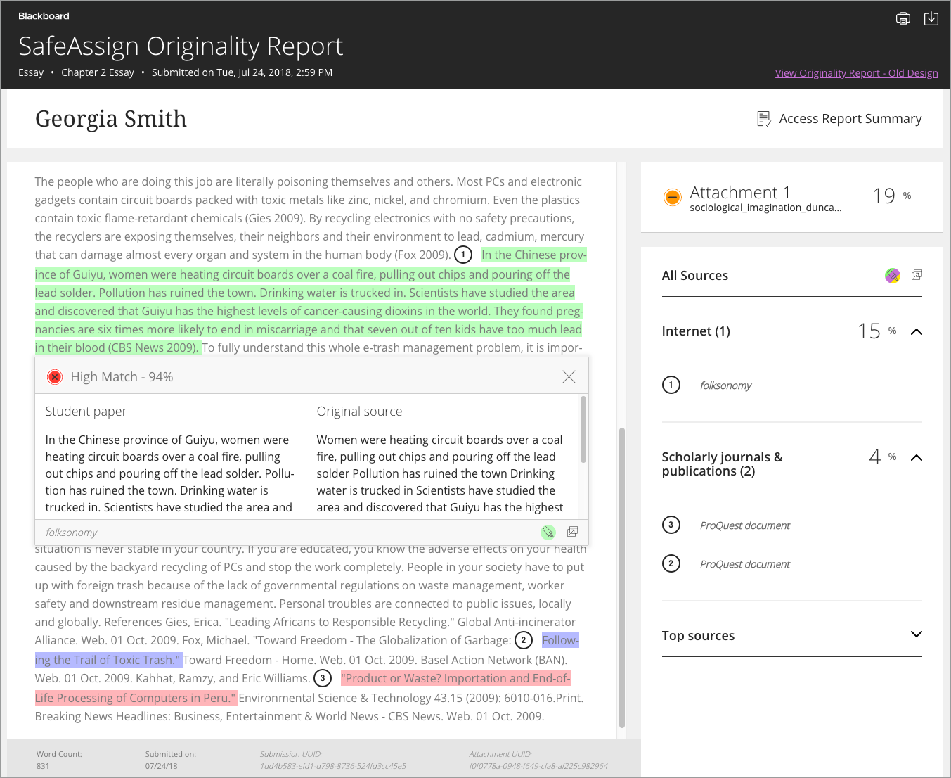 Originality Report showing highlighted sections