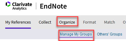 EndNote Online Organize menu showing Manage My Groups