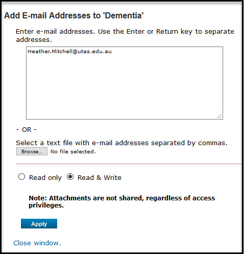 EndNote Online adding email addresses of collaborators for sharing