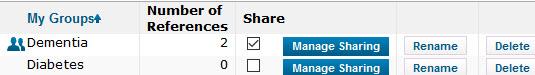 EndNote Online Manage Groups list