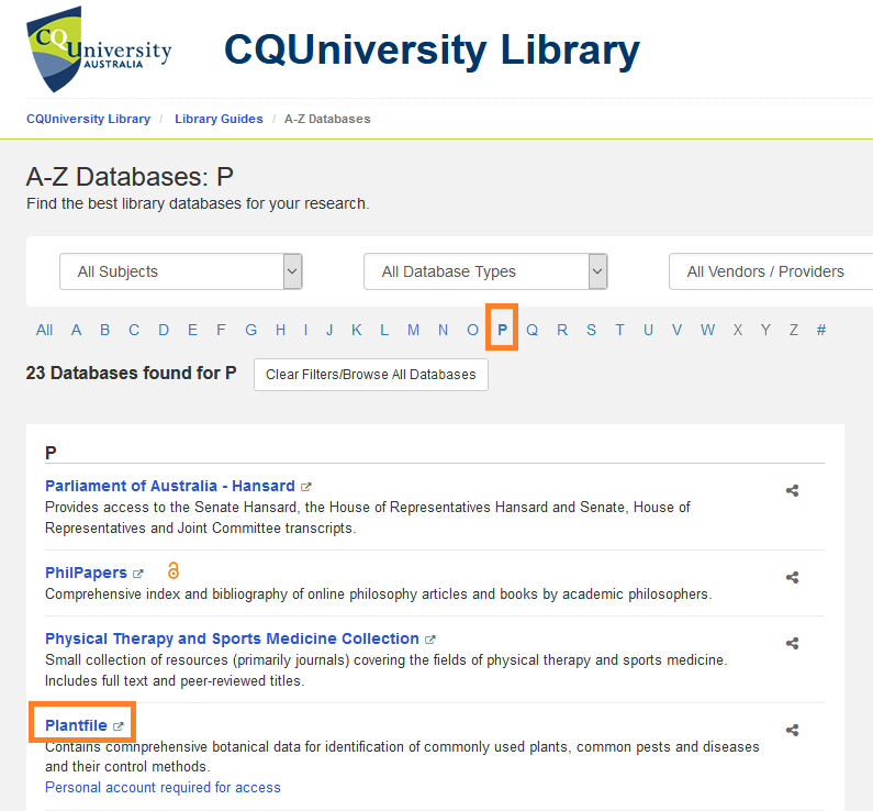 PlantFile in a list of databases beginning with P