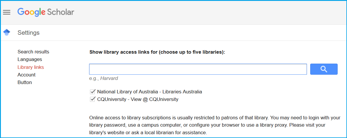 Google Scholar library settings page