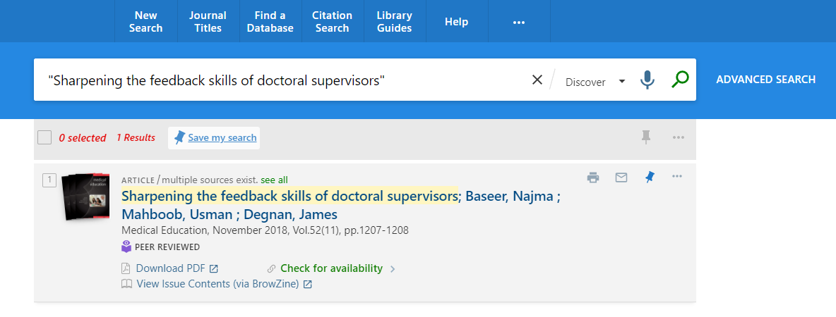 "Phrase search for ""Sharpening the feedback skills of doctoral supervisors"" in Discover"