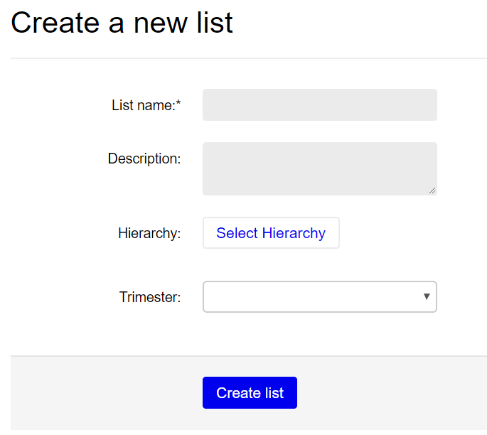 Screenshot of create a new list box.