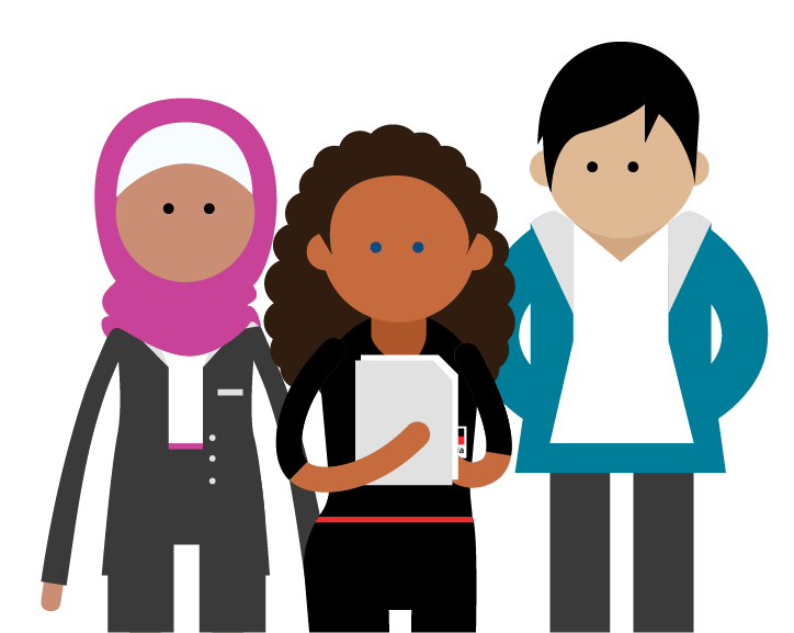 Audience grouping: muslim woman wearing pink hijab and business suite, blue eyed Indigenous Australian woman holding notebook, tall male with dark hair wearing blue hoodie and white tee,
