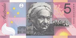 Catherine Helen Spence as depicted on an Australian five dollar note commemorating the Centenary of Federation in 2001.