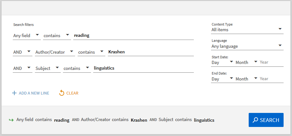 Image shows the advance search option with a demonstrated search using three lines of search options