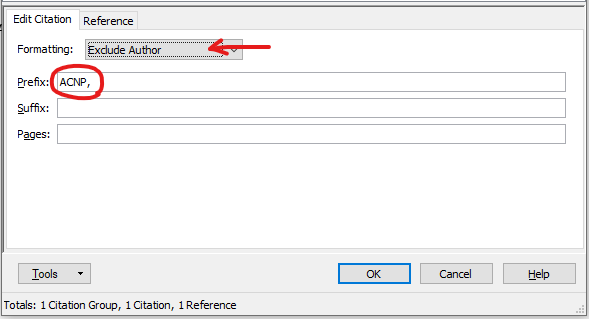 Screenshot showing the Formatting option as Exclude Author, and an abbreviation in the Prefix field