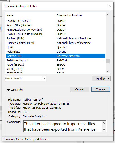 Screen shot of the Import Filter dialog window in EndNote X9, with RefMan RIS selected
