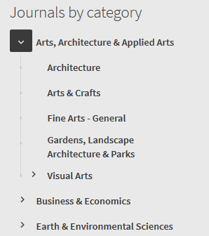"""Screenshot of """"Journals by category"""" menu, showing one of the options expanded to display suboptions"""
