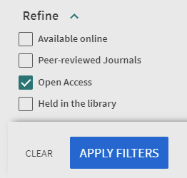 Selecting the Open Access filter and applying it
