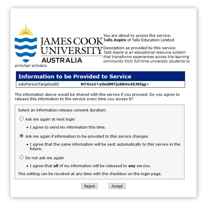 Shibboleth information sharing acceptance screen