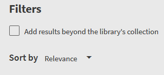 """Screenshot showing check box with """"add results beyond the library's collection"""""""